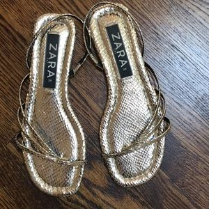 Gold Zara flat sandals size 8